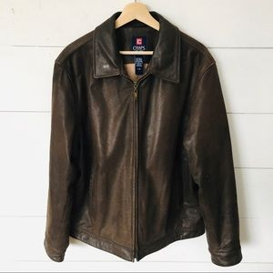CHAPS Brown Leather Bomber Jacket Men's LARGE EUC